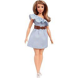 Barbie Fashionista barátnők - molett szőke fehér-kék csíkos ruhában (kép 1)