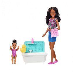 Barbie Skipper bébiszitter játékszett - Afroamerikai baba fürdőkáddal (kép 1)