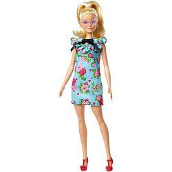 Barbie fashionista barátnők - szőke virág mintás kék ruhában (kép 1)