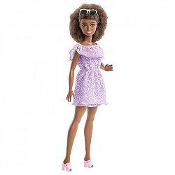 Barbie Fashionista barátnők - alacsony afroamerikai baba lila ruhában (kép 1)