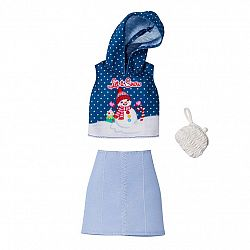 Barbie karácsonyi ruhák - Hóember mintás felső szoknyával (kép 1)
