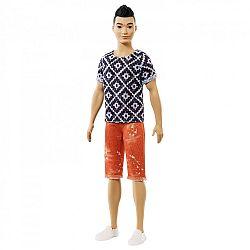 Barbie fashionista Ken babák - Fekete hajú rombusz mintás felsőben (kép 1)