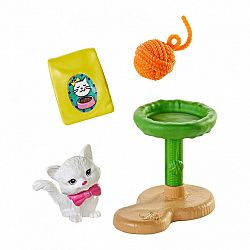 Barbie ház kiegészítők - cica kaparófával (kép 1)