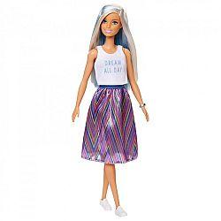 Barbie Fashionista barátnők - Fehér-kék hajú baba csíkos szoknyában (kép 1)