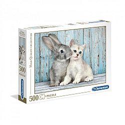 Clementoni High Quality Collection puzzle 500 db - Cica nyuszival (kép 1)