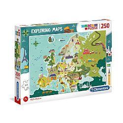 Clementoni super color felfedező térkép puzzle 250 db - Az EU országai (kép 1)