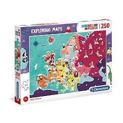 Clementoni super color felfedező térkép puzzle 250 db - Az EU híres emberei (kép 1)
