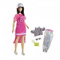 Barbie fashionista baba ruhákkal és kiegészítőkkel - molett pink ruhában (kép 1)