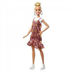Barbie fashionista barátnők - szőke csillámló kockás ruhában (kép 1)