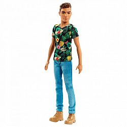 Barbie Fashionista fiú babák - barna vékony trópusi mintás pólóban (kép 1)