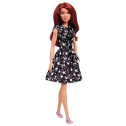 Barbie Fashionista barátnők - vörös hajú fekete-fehér csillagos ruhában (kép 1)