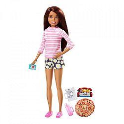 Barbie bébiszitter baba- Barna csíkos felsőben (kép 1)