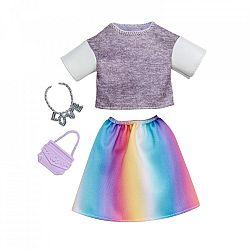 Barbie ruhák - Szürke felső szivárvány színű szoknyával (kép 1)