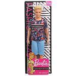 Barbie fashionista fiú barátok - szőke hajú Ken piros-kék mintás pólóban (kép 4)