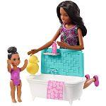 Barbie Skipper bébiszitter játékszett - Afroamerikai baba fürdőkáddal (kép 2)