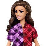 Barbie Fashionista barátnők - Barna szeplős kockás ruhában (kép 2)
