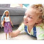 Barbie Fashionista barátnők - Fehér-kék hajú baba csíkos szoknyában (kép 2)