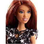 Barbie Fashionista barátnők - vörös hajú fekete-fehér csillagos ruhában (kép 2)