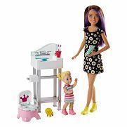 Barbie bébiszitter játékszett - Skipper mosdóval és bilivel