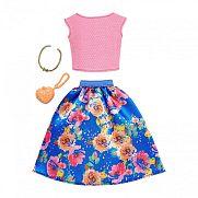 Barbie ruhák - Virágos szoknya rózsaszín felsővel és kiegészítőkkel