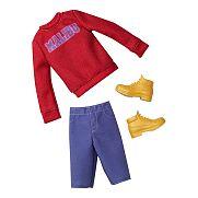 Barbie Ken ruhák - piros pulcsi lila nadrággal