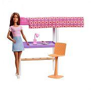 Barbie szoba babával - Íróasztal emeletesággyal