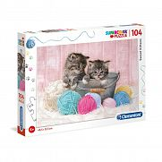 Clementoni supercolor puzzle 104 db - Cicák gombolyaggal