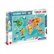 Clementoni supercolor felfedező térkép puzzle 250 db - A világ állatai