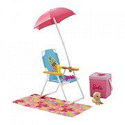 Barbie kerti bútorok kiegészítőkkel - szék napernyővel