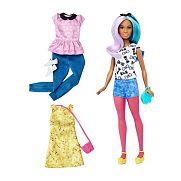 Barbie fashionista babák ruhákkal és kiegészítőkkel - lila-kék hajú alacsony baba