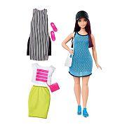 Barbie fashionista babák ruhákkal és kiegészítőkkel - padlizsán vörös molett baba