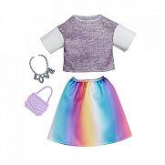 Barbie ruhák - Szürke felső szivárvány színű szoknyával